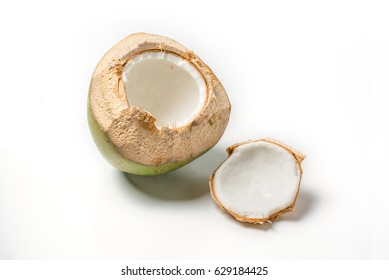 Thai coconut open top on white background.
