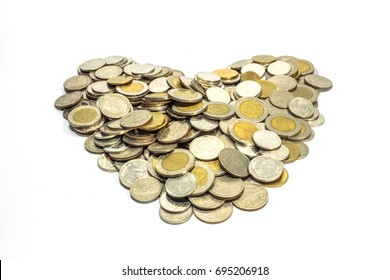Thai coin heart on white background