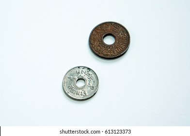 Thai coin isolated on white background.