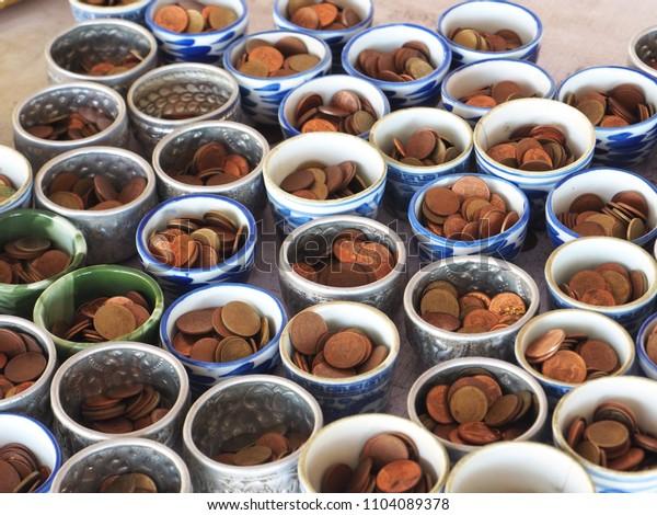 Thai coin for make merit.