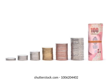 Thai coin stack step growing up to Thai banknote isolated on white background, Saving money or success financial business conceptual