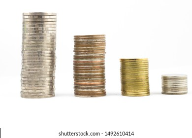 Thai coins are arranged in silver from one baht , Two baht, five baht, ten baht