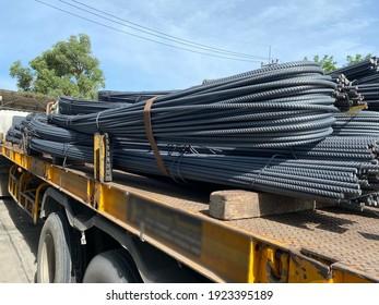 Thai construction steel truck. Deform bar Steel
