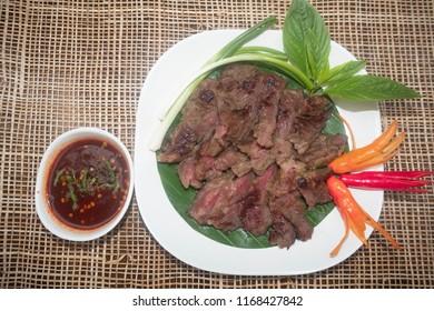 "Thai cooking.Grilled Beef With Spicy sauce (Nua Yang""Nam-Jim- Jaew""),Thai Food."