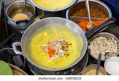 Thai Crispy Pancake on the pan