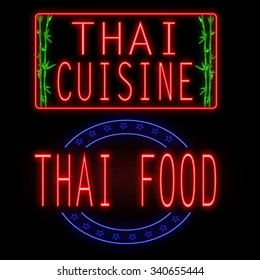Thai cuisine and food glowing neon signs on black background