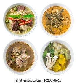 Thai Cuisine and Food, Top View of Green Curry with Green Eggplant, Red Curry with Cassia Leaves, Clear Spicy Hot and Sour Soup and Mixed Vegetables Soup Isolated on White Background.