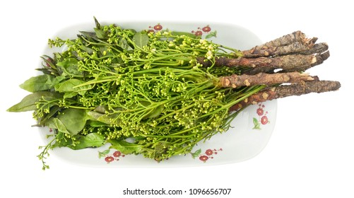 Thai Cuisine and Food, Top View of Margosa or Neem Leaves and Blossom Isolated on White Background.
