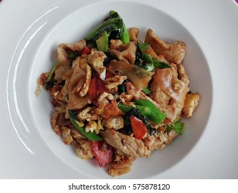 Thai cuisine of Fried noodle with pork , delicious food in top view