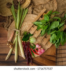 Thai Curry paste ingredients on wooden style with free text spac