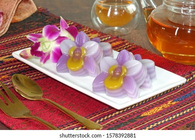 Thai dessert : Layer sweet cake (Khanom Chan) Thai traditional dessert in orchid flowers shaped. One of nine famous Thai auspicious desserts in Thailand for New year and all Thai's festival.