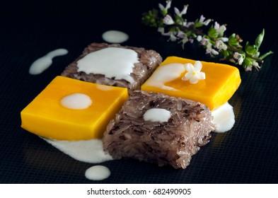 Thai dessert, Mango and sticky rice, sweet ripe mango and sticky rice, geometric food art