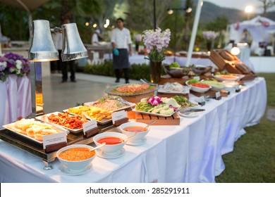 thai dessert on buffet line