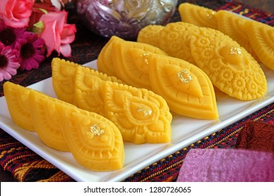 Thai dessert / Royal Thai cuisine : Golden sweetmeat  (Kha nom Thong Ek) , one of famous nine auspicious desserts in Thai tradition, made from yolk, wheat flour and edible gold.