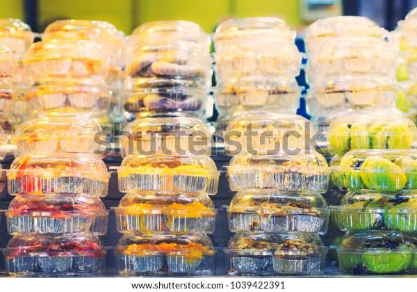 Thai desserts in plastic packaging tone vintage