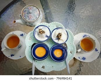 Thai desserts set on glass table