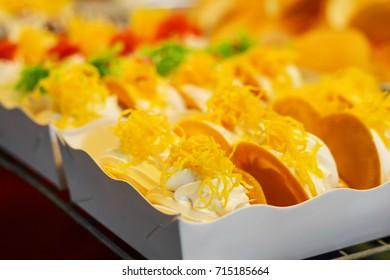 Thai desserts sold in the market.