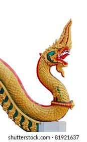Thai dragon or king of Naga statue on white background