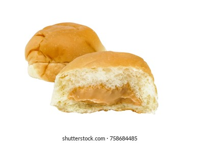 Thai egg custard bread isolated on white background, clipping path included.