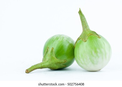 thai eggplant or Yellow berried nightshade on white background thai eggplant  vegetable isolated