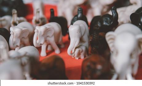 Thai elephant souvenir close-up. Thailand souvenir markets, Bangkok