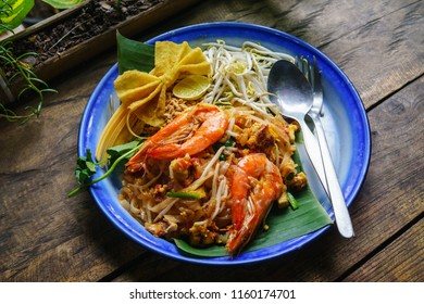 Thai famous food Padthai. Traditional style of Pad-Thai. Padthai is the Most popular Fried Noodle Thai Street Food.
