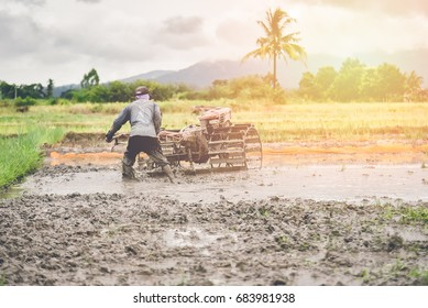 Thai farmers working with a handheld motor plough in a rice field. vintage filter.
