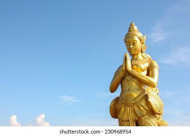Thai Female Angel Statue at Suvarnabhumi Airport, Thailand