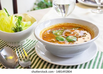 Thai Fish sour soup, The viscera of mackerel fish paunch hot spicy curry or fish organs sour soup with vegetables, Kang Tai Pla.