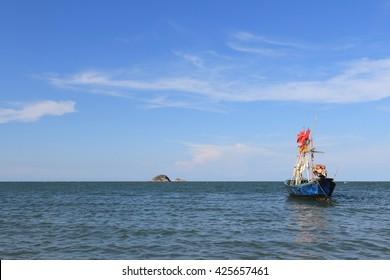 Thai fishing boat ,hua hin beach, Thailand