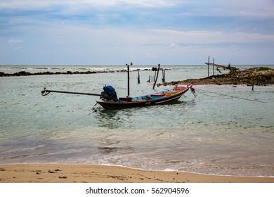 Thai fishing boats on a coast of Koh Samui