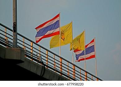Thai flag on the bridge