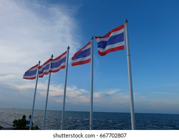 Thai flags with blue sky in the background