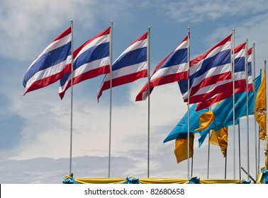 Thai Flags in windy