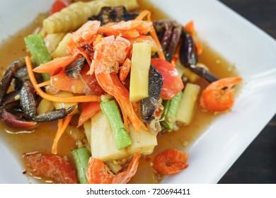 Thai food, Bamboo-shoot salad with salted crab