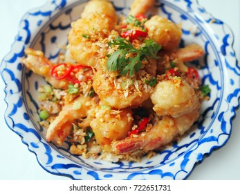 Thai Food: Batter-fried Prawn with garlic and chili
