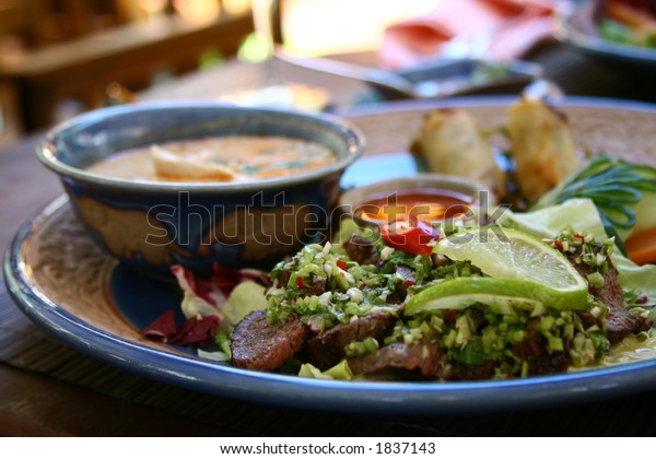 Thai Food - Beef Salad and Chicken Soup