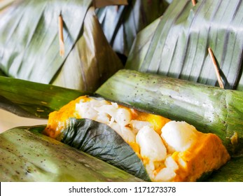 Thai food called Hoamok made from chili paste with coconut milk, fish and crab meat covered with banana leaf and steamed