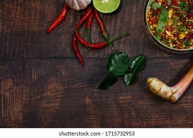 Thai food chili paste Is a Thai food that is popular with both Thais and foreigners. Top view with copy space