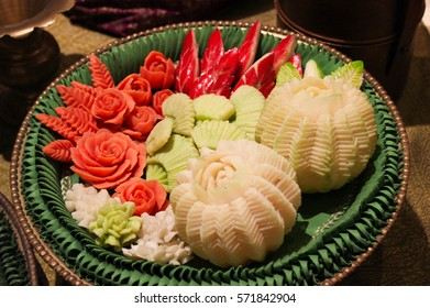 Thai food decoration. Fruits carve. Papaya,carrot,guava,rose apple carving.