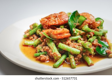 Thai food ,Fried chili paste with shrimp.selective focus.
