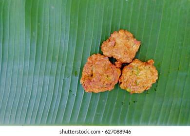 Thai food, Fried Fish-paste balls on banan leaf