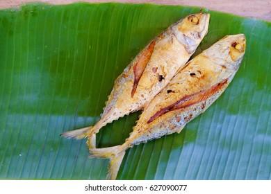 Thai food, Fried mackerel on banan leaf