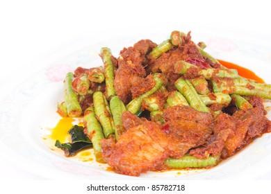 Thai food, Fried pork and beans.