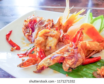 Thai food, fried shrimp with chili source
