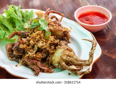 Thai food, fried soft shell crab with garlic and pepper