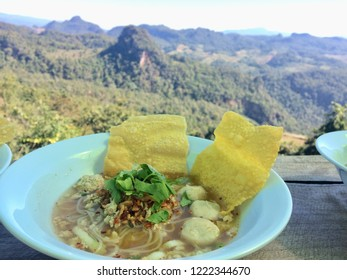 Thai food and good view. Tomyam noodles with the beautiful mountain.
