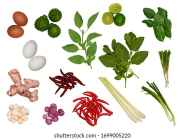 Thai food ingredients isolated on white background