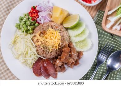 Thai food - Kao Cluk Ka Pi (Mixed Cooked Rice with Shrimp Paste Sauce)