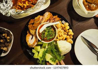 Thai food ,food in the north of thai, northern thai sausage, pamu cache,pock caps